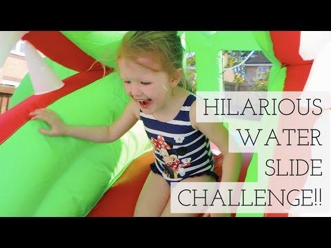 HILARIOUS WATER SLIDE CHALLENGE!!