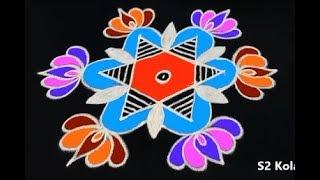 cute friday kolam designs with 5 to 3 dots * beautiful rangoli designs * star muggulu designs