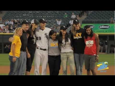 Ruth Riley throws out the first pitch - Behind the Scenes
