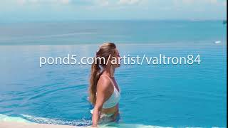 Portrait beautiful young woman happy smile relax in swimming pool w...