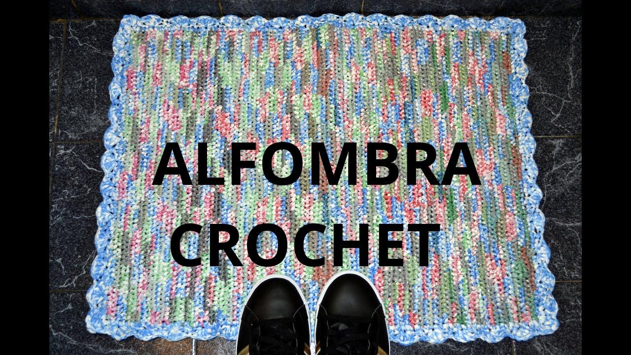 Como hacer una alfombra en tejido crochet o ganchillo con - Como hacer bolsos tejidos ...