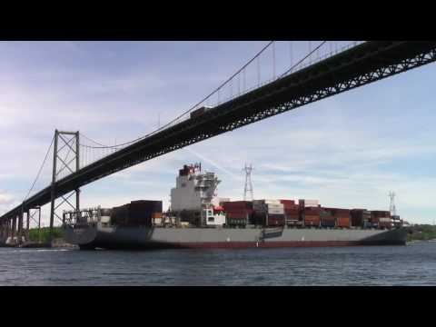 Container Ship BILBAO BRIDGE Outbound Port of Halifax, NS, Canada (June 16, 2017)