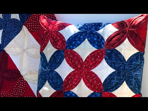 How to Make a Cathedral Window Patriotic Pillow | a Shabby Fabrics Sewing Tutorial