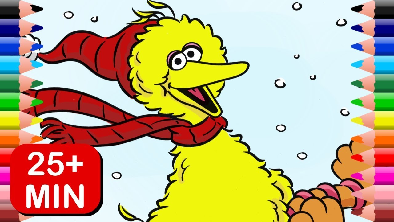 Big Bird Christmas Coloring Pages | Sesame Street Kids Learn Colors ...