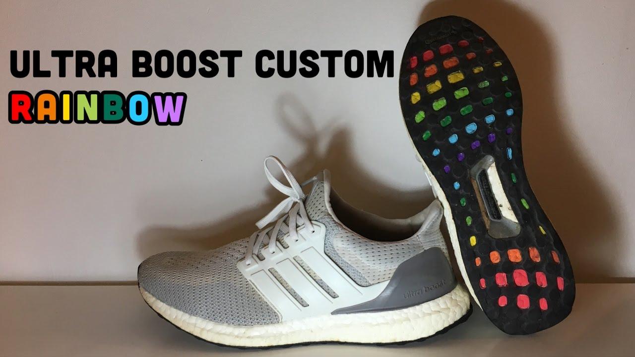 ultra boost custom rainbow fr on feet youtube. Black Bedroom Furniture Sets. Home Design Ideas