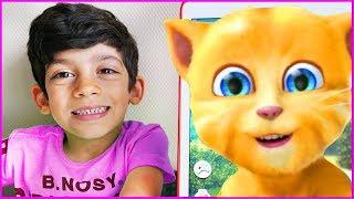 Cat Talking Tom has Fun with Jason, Educational Kids Games
