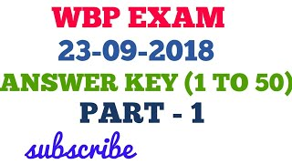 479. WBP 2018 EXAM ANSWER KEY , WEST BENGAL POLICE ANSWER KEY 2018