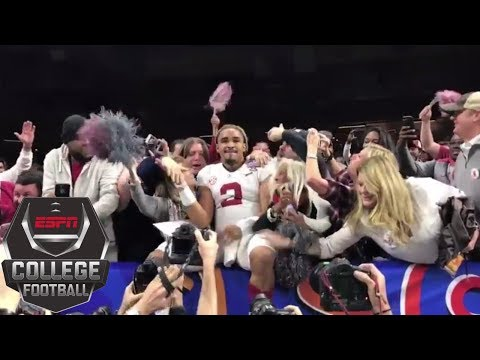 Jalen Hurts celebrates with Alabama fans after winning 2018 Sugar Bowl | ESPN