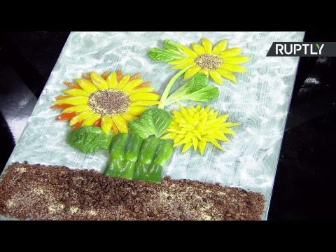 Российский фуд-стилист делает копию «Подсолнухов» Винсента ван Гога