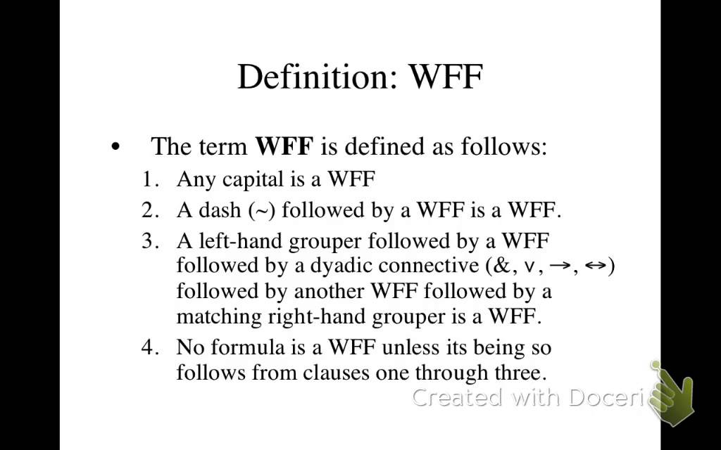 Well Formed Formulas