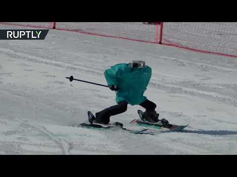 Robot ski race on sidelines of human Olympic games