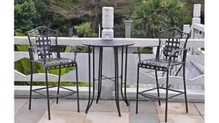 Iron 3-piece Bar Height Patio Bistro Set