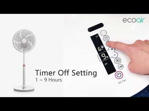 9 Speed Plus 3 Mode Settings - EcoAir Kinetic Energy Efficient Pedestal Fan - Control Panel Intro