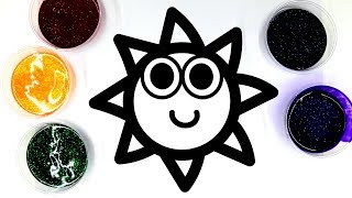 painting glitter gel sun painting pages for kids and LEARN COLORS 💜(4K)