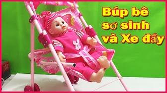 Đồ chơi búp bê sơ sinh mặc đồ hồng, có xe đẩy búp bê và giỏ xách đựng đồ (Chim Xinh)