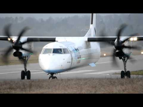 Close, Powerfull Takeoff of  a Dash 8-Q402 by Flybe  HD