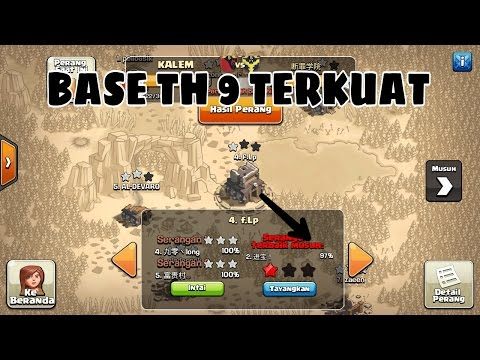 Base war th 9 terkuat x4 replay|clash of clans|coc indonesia