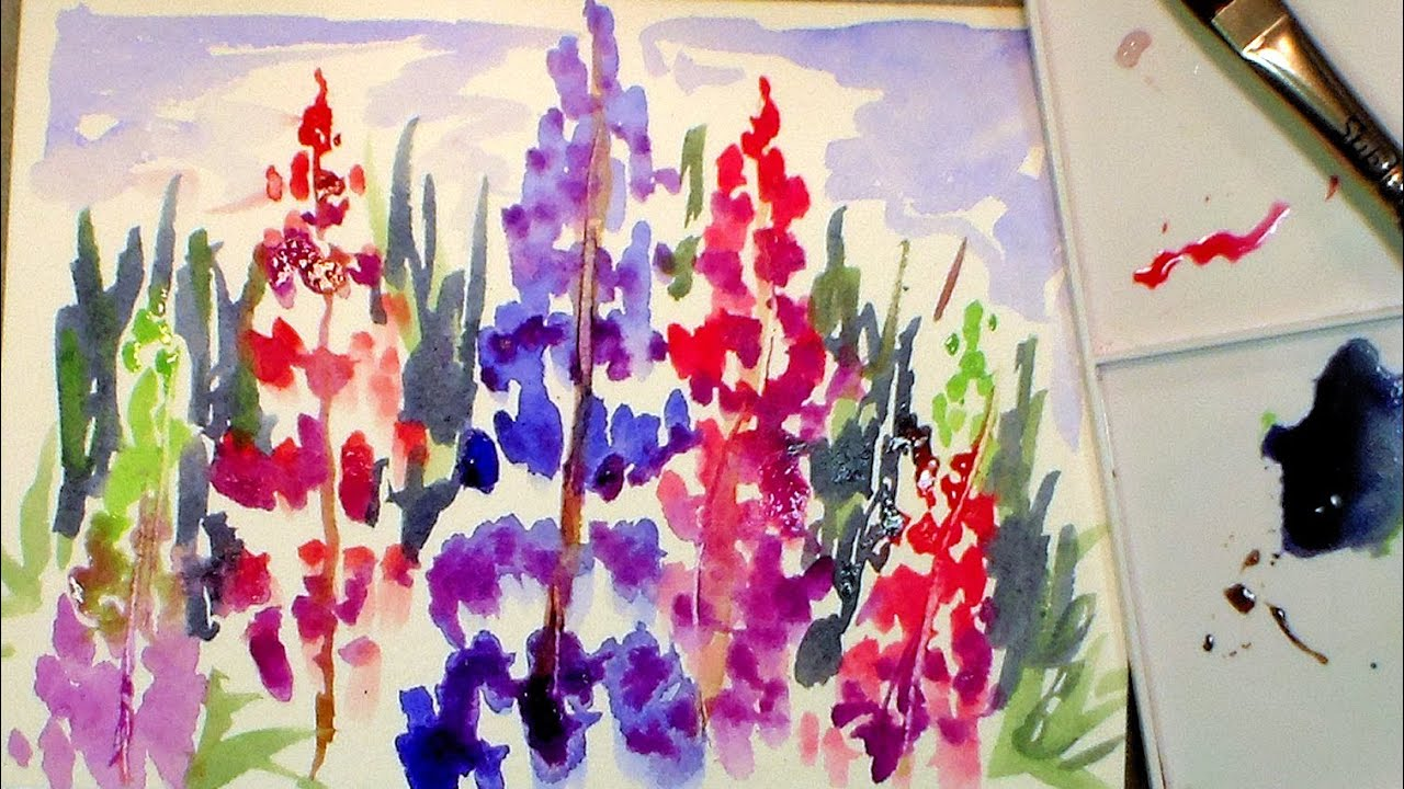 How To Paint Lupine Flowers In Watercolor Full Tutorial
