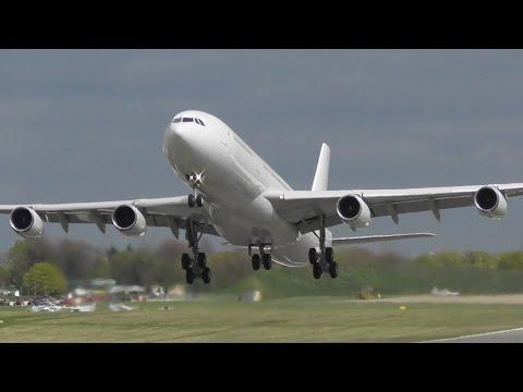 Incredible Finnair Airbus A340 Departure at Cambridge Airport