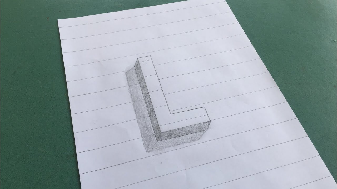 Vẽ chữ 3D nổi trên giấy.  Draw 3D letters