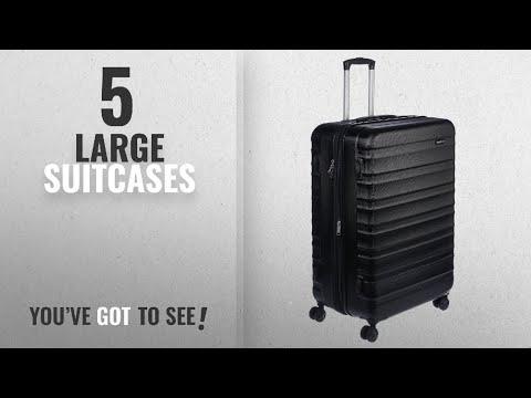 Top 10 Large Suitcases [2018]: AmazonBasics Hardside Spinner Luggage - 28-inch, Black