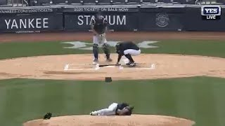 Masahiro Tanaka Hit in the Head by Line Drive