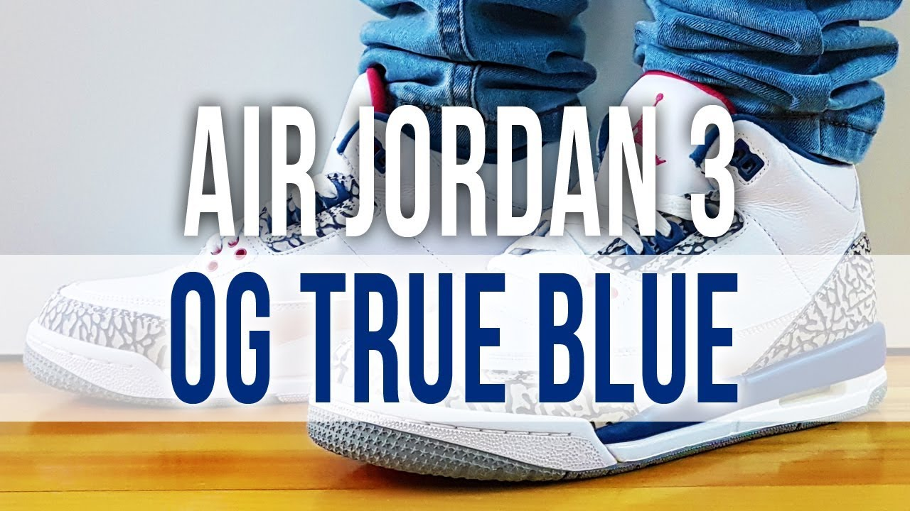 767ff1869b7f8e AIR JORDAN 3 RETRO OG TRUE BLUE 2017 on Feet and Close Up - YouTube