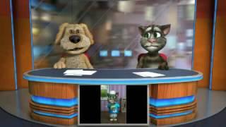 Konuşan Kedi Tom ve Köpek  Ana Haber Bülteninde Kavga Ettiler Komik😂