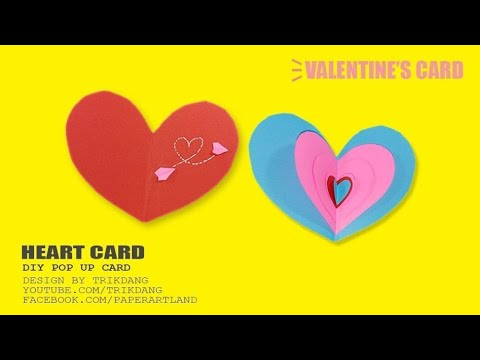 DIY VALENTINE'S CARD - How to make a pop up card for your love ones | Heart