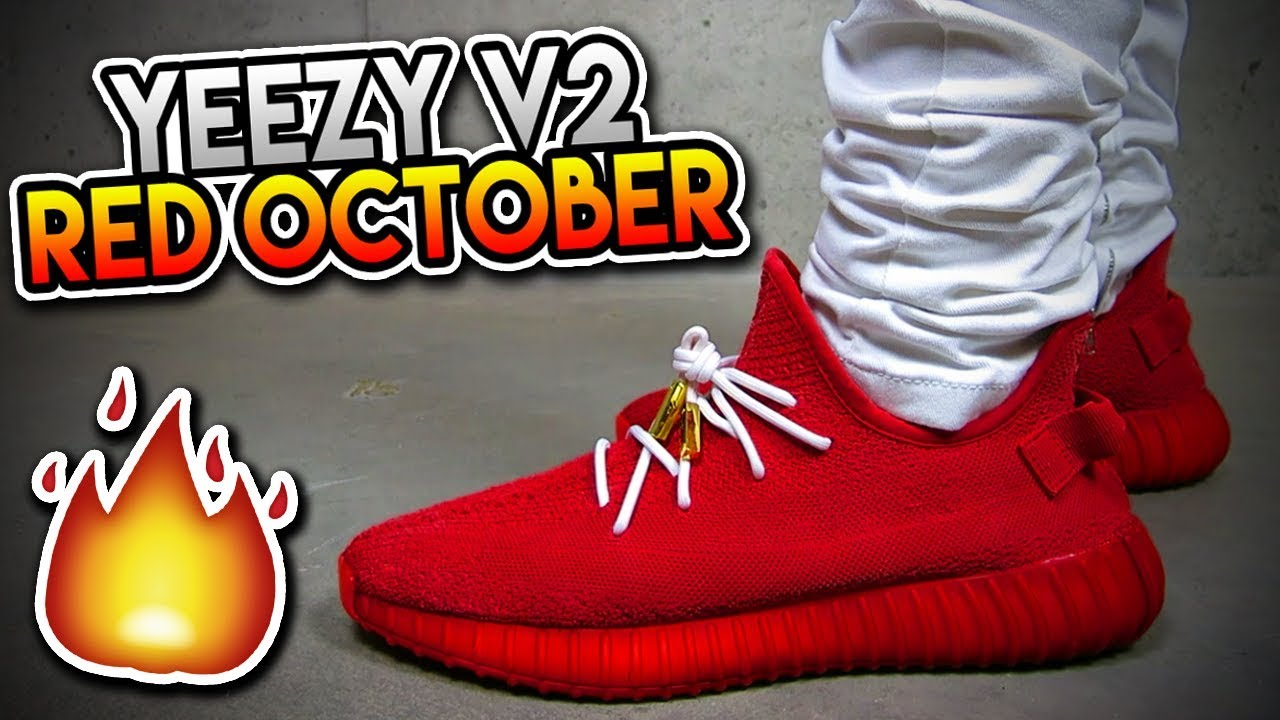 ON FOOT  FIRST EVER ADIDAS YEEZY BOOST 350 V2 RED OCTOBER REVIEW!!! ( MUST  SEE!!! ) b30830f9c0c2