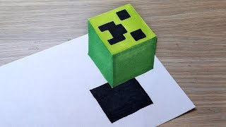 Very Easy!! How To Draw 3D Floating CREEPER Head from MINECRAFT. Step by Step 3D Trick Art on paper