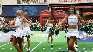 NY JETS Cheerleaders at NFL Kick-off Piccadilly