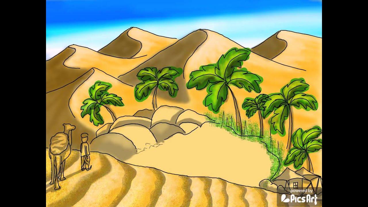 desert oasis drawing - photo #5