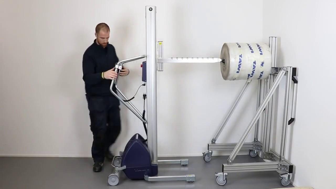 Carretilla elevadora con eje fijo con rodamientos para bobinas