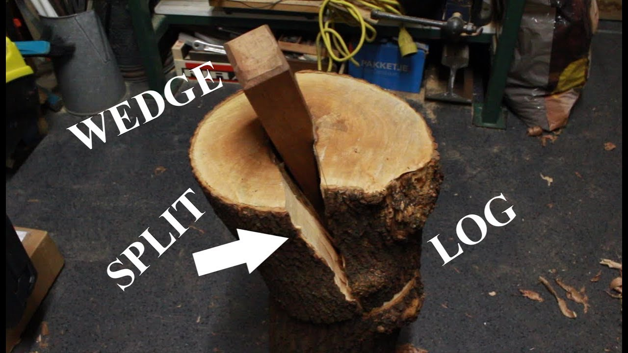 Making a hardwood wedge to split a log