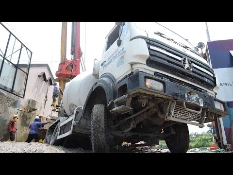 Concrete Mixer Truck Excavator and Drilling Rig Working