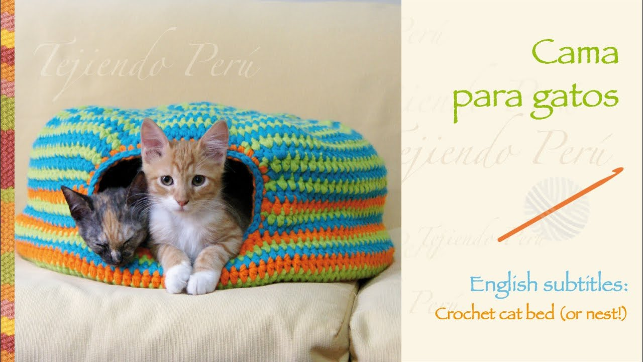 Cama para gatos tejida a crochet crochet cat bed or nest for Cama cerrada