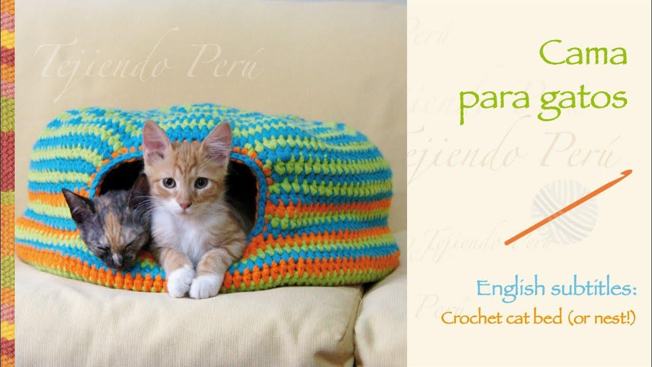 Cama para gatos tejida a crochet / Crochet cat bed or nest - YouTube