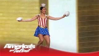 Red Panda Act Juggles Rings and Tosses 5 Bowls On Her Head America 39 s Got Talent Semi Finals 2013