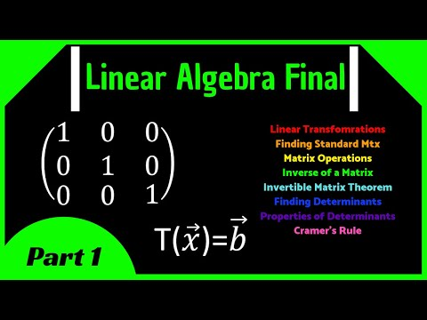 Linear Algebra Final Review (Part 1) || Transformations, Matrix Inverse, Cramer's Rule, Determinants