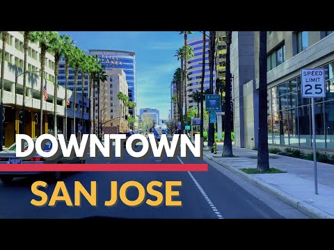 SAN JOSE California, Driving Downtown, Dash Cam, USA