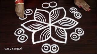 Creative rangoli & kolam designss with 5 dots || easy muggulu designs