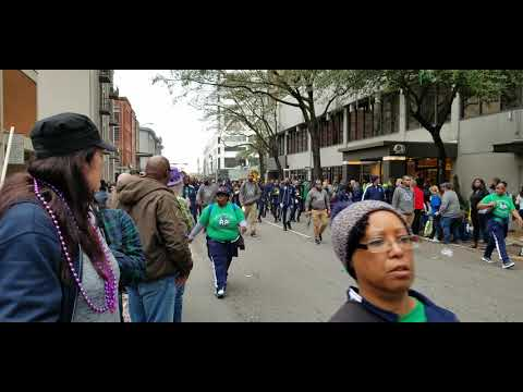 Livingston Collegiate Academy band Marching In Krewe of Carrollton parade (2020)