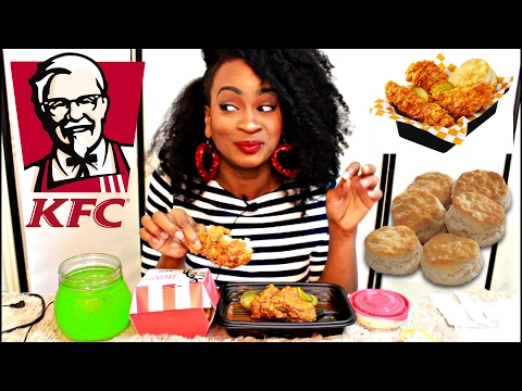 MUKBANG:  KFC GEORGIA GOLD CHICKEN! & THOSE BISCUITS THO! YUMMYBITESTV