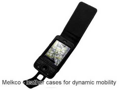 Melkco Tasche Leder Etui cuir ~HTC P3470/HTC Pharos 100 - Flip Type (Black)