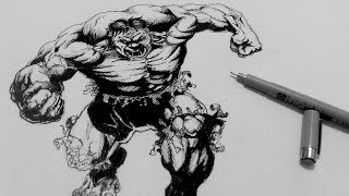 How to Draw Superheroes | How to ink the Incredible Hulk