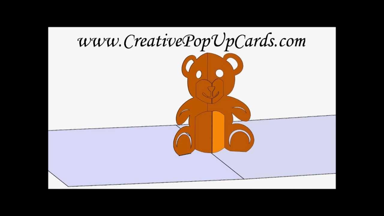 teddy bear pop up card template free teddy bear pop up card 3d cad model youtube