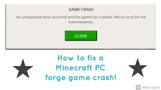 How to fix a Minecraft PC forge game crash!