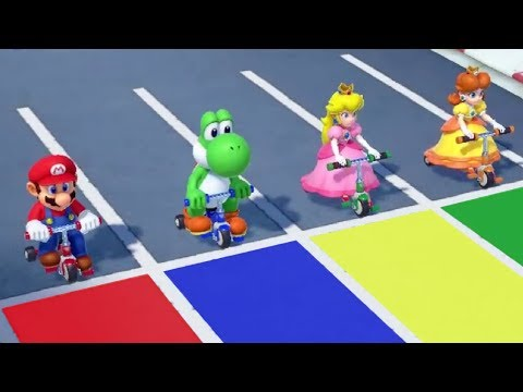 Super Mario Party Minigames - Mario Vs Yoshi Vs Peach Vs Daisy