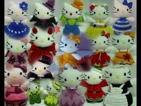 Tutoriales español muñecos crochet-ganchillo (amigurumi) (hello kitty, flores, ...)
